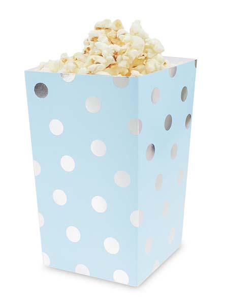 Χάρτινο κουτί ποπ- κορν γαλάζιο με ασημί πουά (4 τεμ)