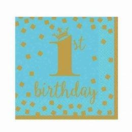 """Χαρτοπετσέτες """"1st Birthday"""" μπλε & χρυσό (16τεμ)"""