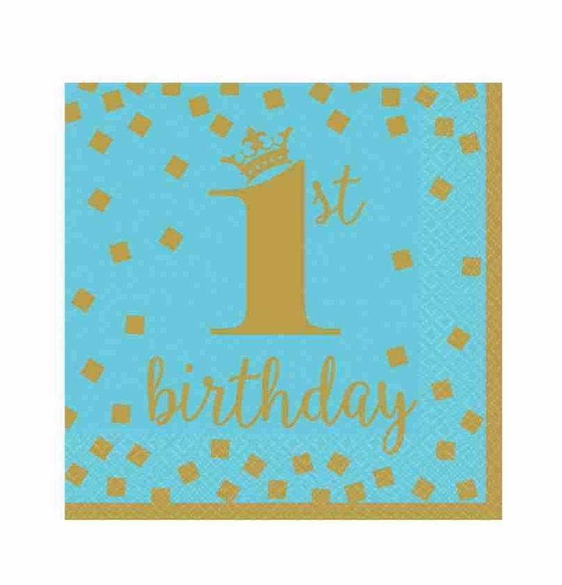 """Χαρτοπετσέτες μικρές """"1st Birthday"""" μπλε & χρυσό (16τεμ)"""