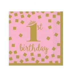 """Χαρτοπετσέτες μικρές """"1st Birthday"""" ροζ & χρυσό (16τεμ)"""