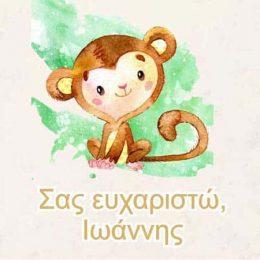 Ευχαριστήριο καρτελάκι Μαϊμουδάκι