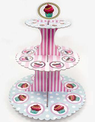 Βάση για Cupcake ροζ & γαλάζια