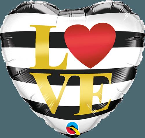 """Μπαλόνι αγάπης """"Love"""" ριγέ 46 εκ."""