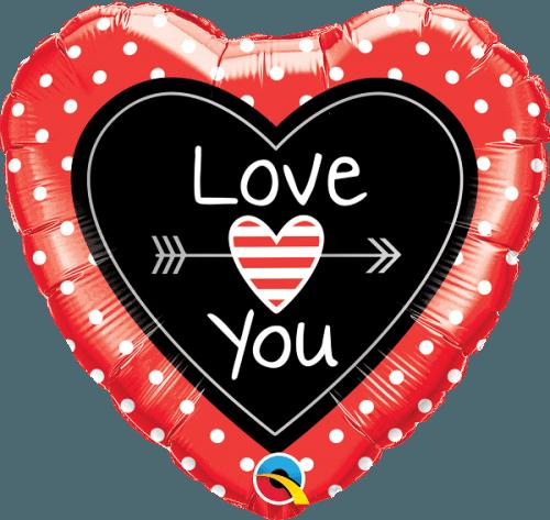 """Μπαλόνι καρδιά """"Love you"""" πουά και βέλος 46 εκ."""