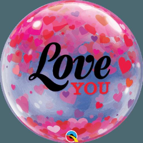 Μπαλόνι αγάπης 'Love You' με κομφετί bubble 56εκ
