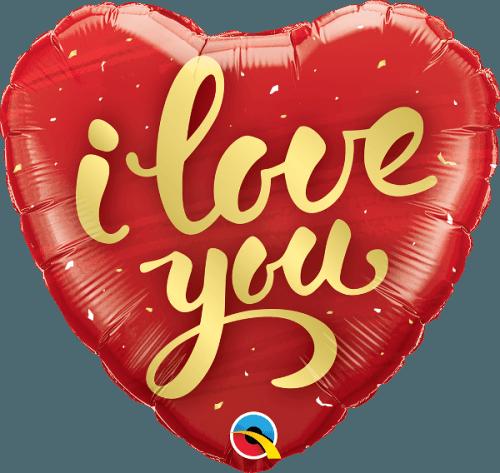 """Μπαλόνι καρδιά """"I love you"""" χρυσά γράμματα 46 εκ."""