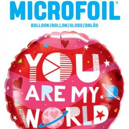 """Μπαλόνι αγάπης """"You are my world"""" 46 εκ."""