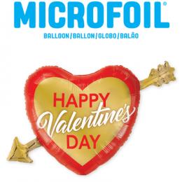 """Μπαλόνι καρδιά """"Happy Valentine's Day"""" 99εκ."""
