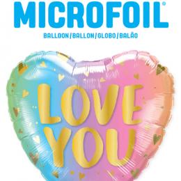 """Μπαλόνι καρδιά """"Love you"""" παστέλ ομπρε & καρδιές 46 εκ."""