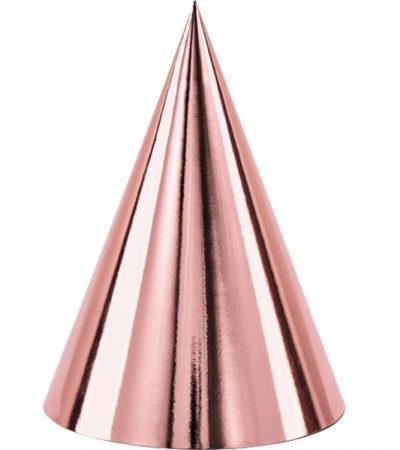 Καπελάκια χάρτινα ροζ- χρυσό (6 τεμ)
