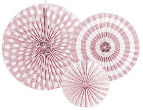 Σετ χάρτινες βεντάλιες παστέλ Ροζ (3 τεμ)