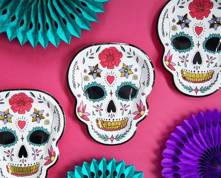 Πιάτα πάρτυ Νεκροκεφαλή με λουλούδια