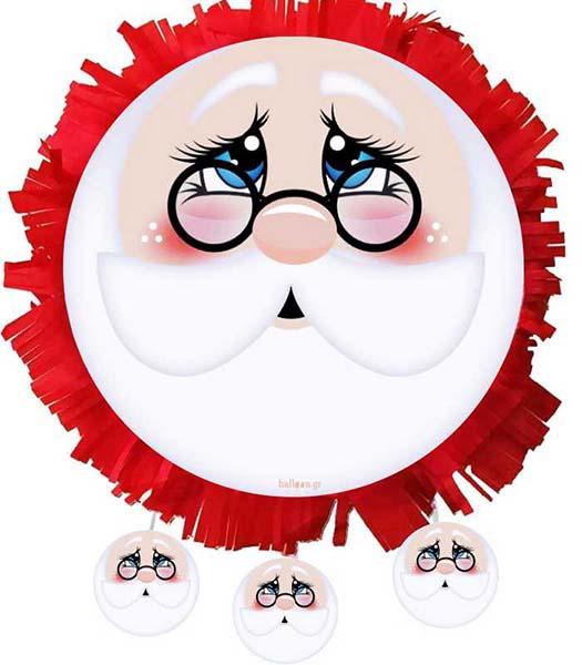 Χειροποίητη Χριστουγεννιάτικη Πινιάτα Φάτσα Αη Βασίλης