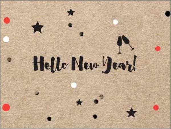 """Ευχαριστήριο καρτάκι """"Hello New Year"""""""