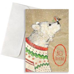 """Χριστουγεννιάτικη κάρτα Αρκουδάκι """"Merry Christmas"""""""