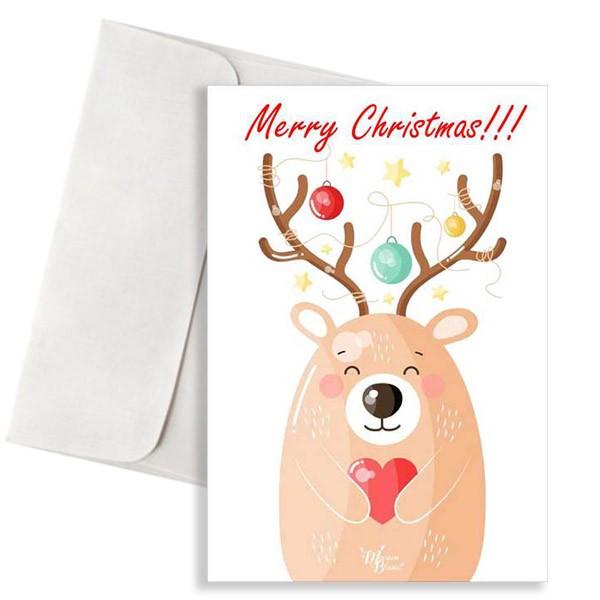 """Χριστουγεννιάτικη κάρτα Ταρανδάκι """"Merry Christmas"""""""