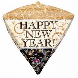 """Μπαλόνι Διαμάντι """"Happy New Year"""" με λάμψεις 45 εκ."""