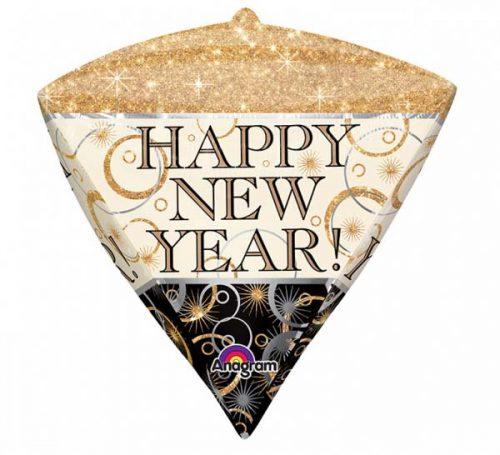 """Μπαλόνι Διαμάντι """"HappyNew Year"""" με λάμψεις 45 εκ."""