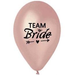 """12"""" Μπαλόνι τυπωμένο Team Bride ροζ- χρυσό"""