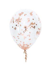 """13"""" Διάφανο μπαλόνι με ροζ-χρυσό κονφετί"""