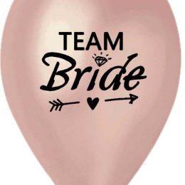 12″ Μπαλόνι τυπωμένο Team Bride ροζ- χρυσό