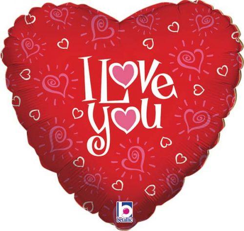 """Μπαλόνι αγάπης μικρές καρδιές """"Love You"""" 46 εκ."""