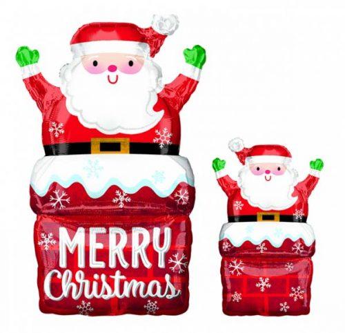 Μπαλόνι χριστουγεννιάτικο Αη Βασίλης στην καμινάδα 76 εκ.