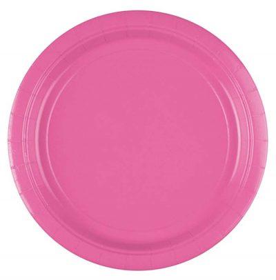 Πιάτα πάρτυ μεγάλα έντονο ροζ (8 τεμ)