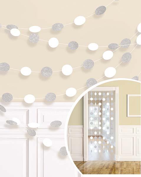 Διακοσμητική Λευκή κουρτίνα με γκλίτερ