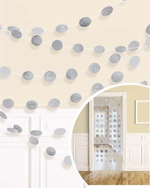 Διακοσμητική Ασημί κουρτίνα με γκλίτερ