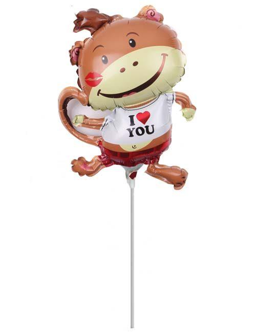 """Μπαλόνι με καλαμάκι Μαϊμουδάκι """"I love you"""" 35 εκ"""