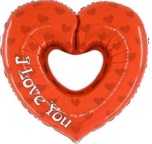 """Μπαλόνι Καρδιά με τρύπα """" I Love you"""" 92 εκ."""