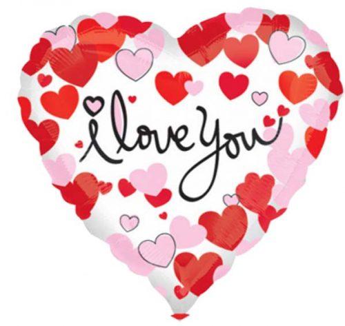 """Μπαλόνι Καρδιά λευκή & κόκκινη """" I Love you"""" 45 εκ."""