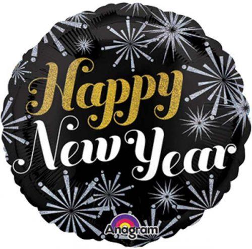 """Μπαλόνι Μαύρο & Χρυσό """"Happy New Year"""" 45 εκ."""