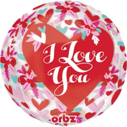 """Μπαλόνι αγάπης λουλούδια """"I Love you"""" Orbz 40 εκ."""