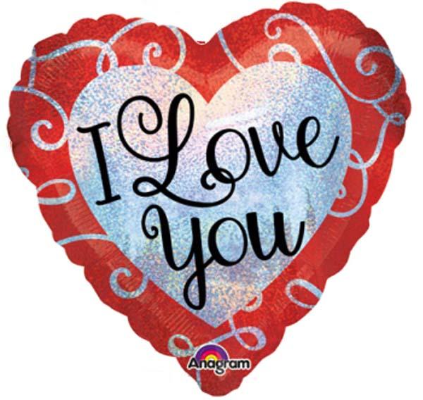 """Μπαλόνι Καρδιά ιριδίζουσα """" Love you"""" 45 εκ."""