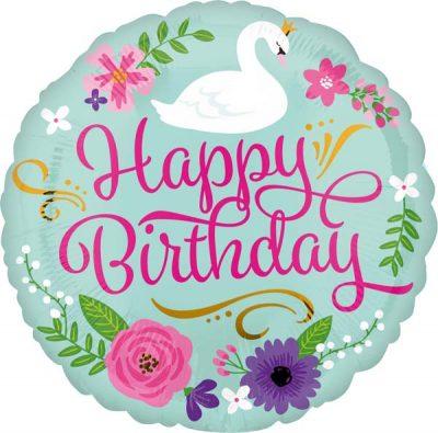Μπαλόνι Happy Birthday φλοράλ κύκνος 45 εκ