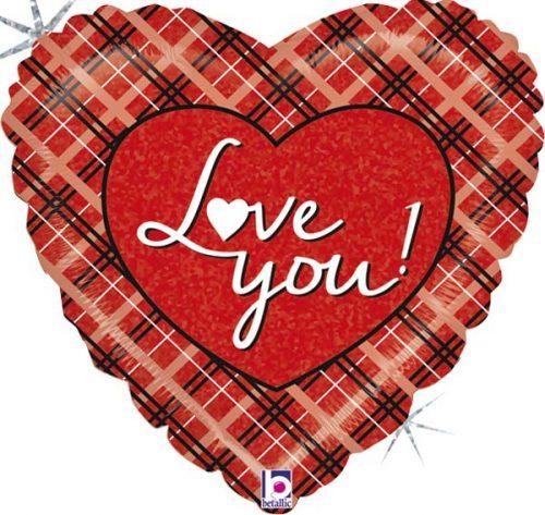 """Μπαλόνι αγάπης καρώ """"Love You"""" 46 εκ."""