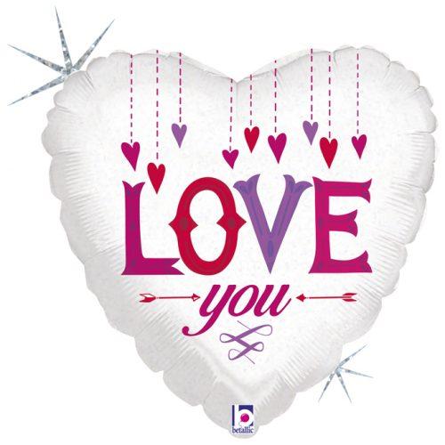 """Μπαλόνι αγάπης Κρεμαστές Καρδιές """"Love You"""" 46 εκ."""