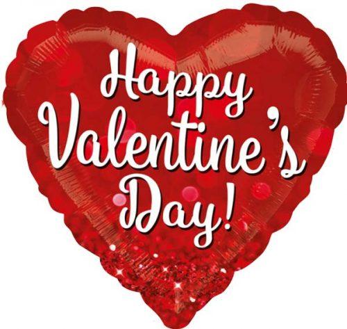 """Μπαλόνι αγάπης """"Valentine's Day"""" με γκλίτερ 71 εκ."""
