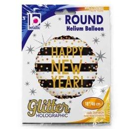 """Μπαλόνι """"New Year"""" με κομφετί γκλίτερ 45 εκ."""