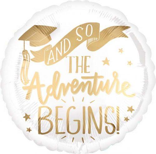 """Μπαλόνι αποφοίτησης """"The adventure begins"""" 45 εκ."""