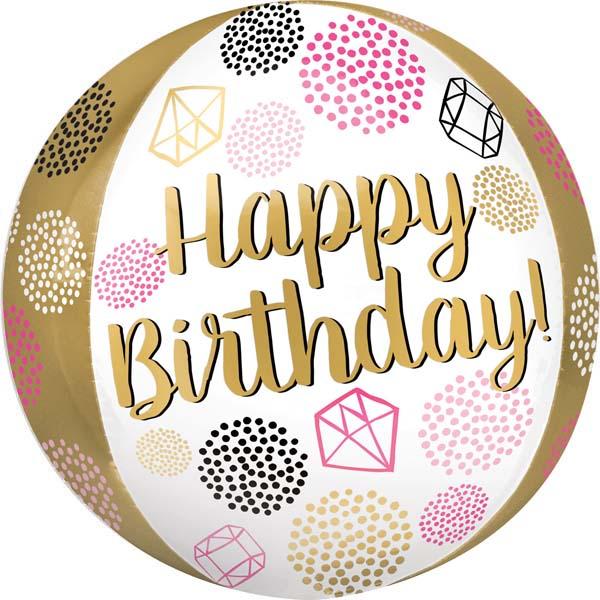 """Μπαλόνι Orbz """"Happy Birthday"""" διαμάντια 40 εκ"""