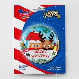 Χριστουγεννιάτικο μπαλόνι Αη Βασίλης και Τάρανδος 54 εκ.