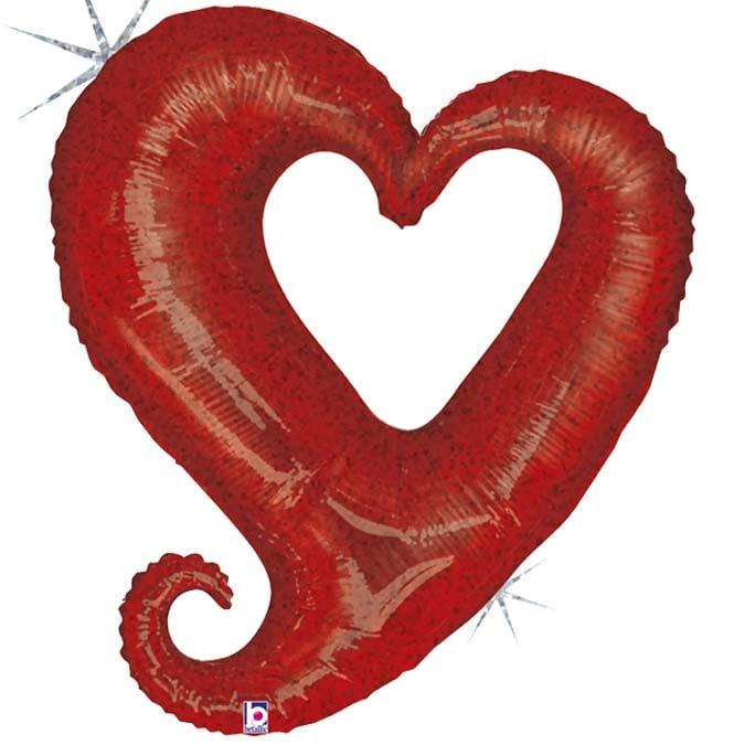 Μπαλόνι αγάπης Κόκκινη καρδιά γκλίτερ 94 εκ.