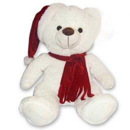 Χριστουγεννιάτικο Λούτρινο Αρκουδάκι με κασκόλ 30 εκ.