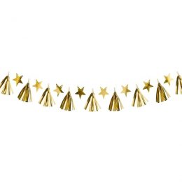 Διακοσμητική χάρτινη Γιρλάντα χρυσά αστέρια