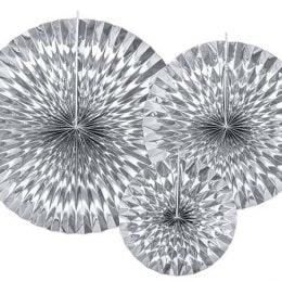 Σετ χάρτινες βεντάλιες Ασημί (3 τεμ)