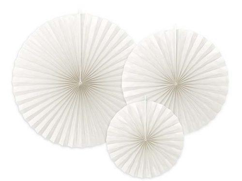 Σετ χάρτινες βεντάλιες Λευκό (3 τεμ)