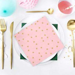 Χαρτοπετσέτες ροζ με αστεράκια(20 τεμ)
